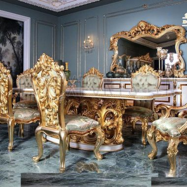 European Hand Carved Luxurious Dining Table Set