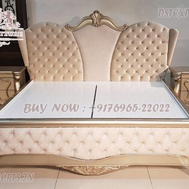 Exclusive King Size Wooden Bed With Side Stools