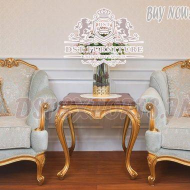 Exclusive Teak Wood Golden Living Room Chairs Set