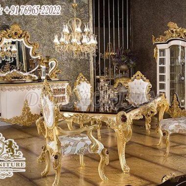 Golden Ornate Wooden Dining Room Furniture