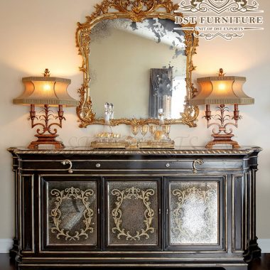 Italian Style Royal Console Mirror Table Set