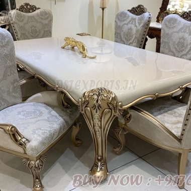 Modern Silver Carved 6 Seater Dining Table Set