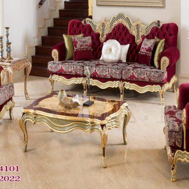 Red Velvet Gold Finish Sofa Set For Home