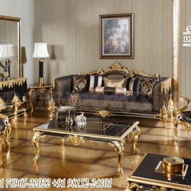 Royal Living Room Sofa In Black Gold Finish