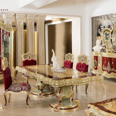 Royal Style Golden Finish Dining Table Set