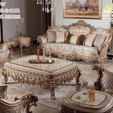 Silver Metallic Finish Living Room Furniture