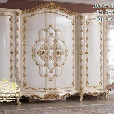 White Gold Finish Hand Carved Wardrobe For Home