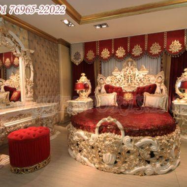 White Golden King Size Baroque Bedroom Furniture Set
