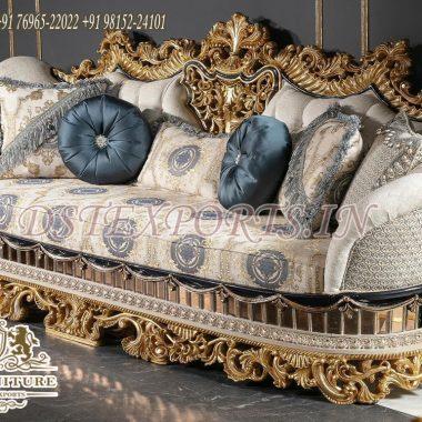 Teak Wood Carved Luxury Sofa For Salle