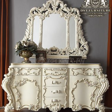 Classic Vintage Style Carved Dresser With Mirror