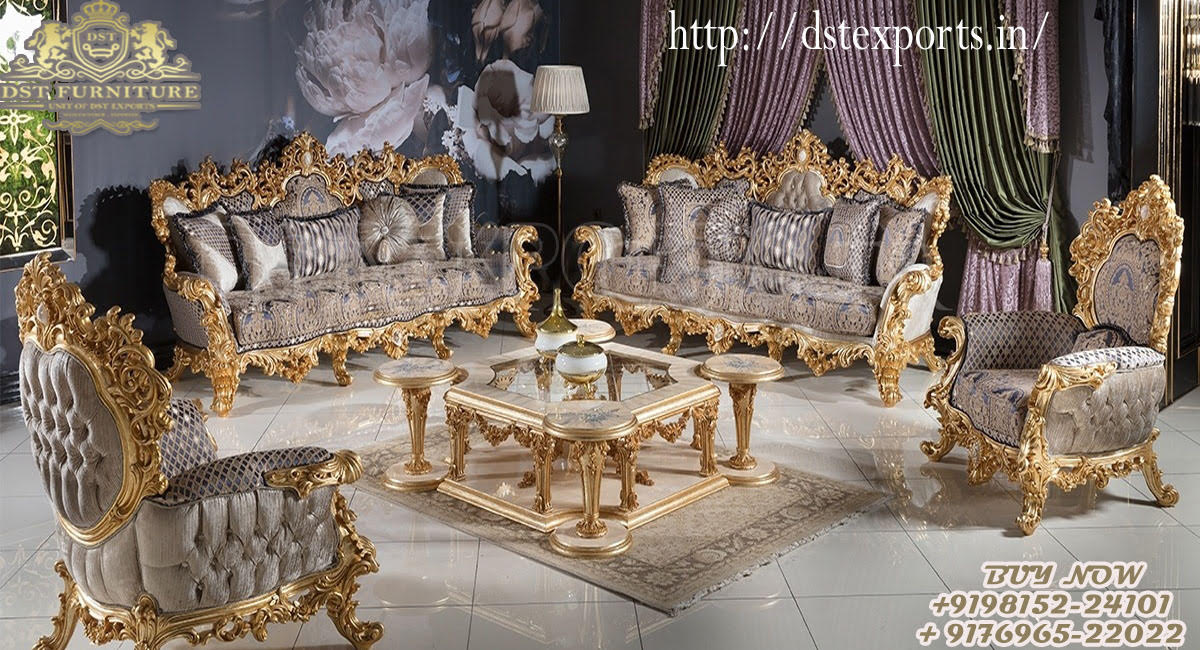Classical Hand Carved Sofa Set For Living Room