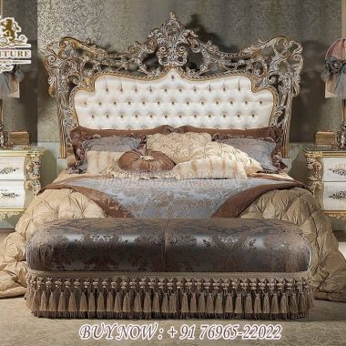Elegant Queen Size Silver Carved Bed With Nightstands