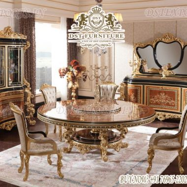 European Heavy Carved Round Dining Room Furniture