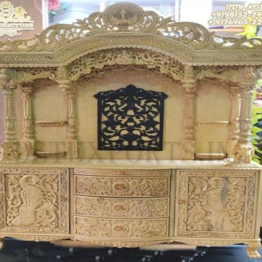 Indian Teak Wood Peacock Carved Temple For Home