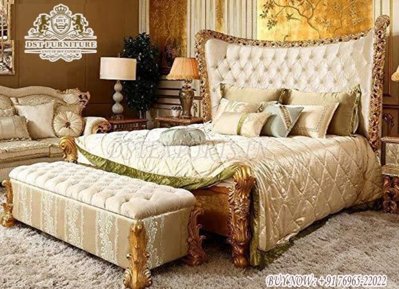 King Size Wooden Carved Bed With Nightstands