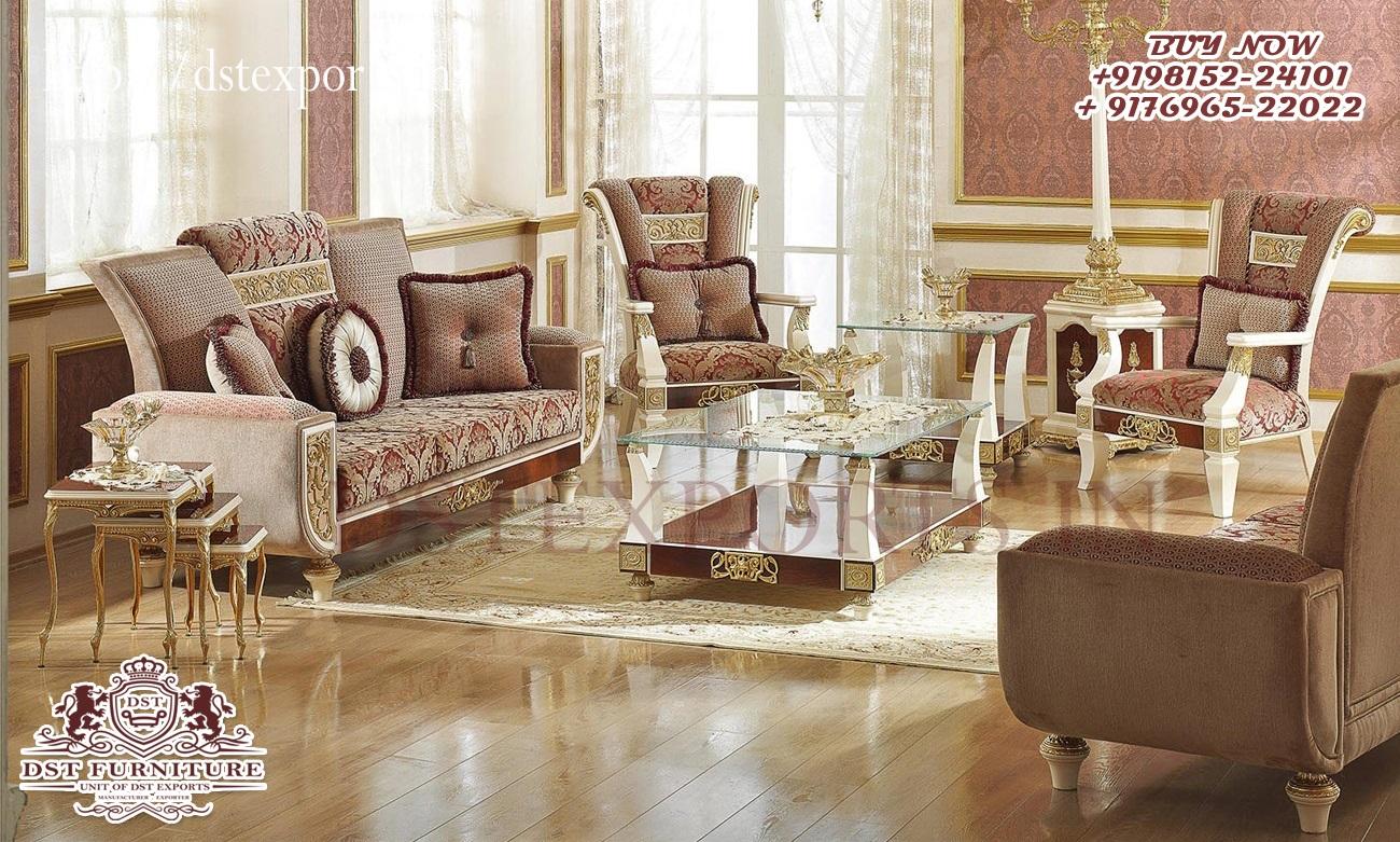 Modern Teak Carved Wooden Living Room Sofa