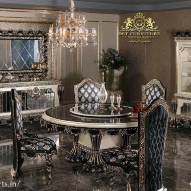 Royal Black Diamond Dining Table Set