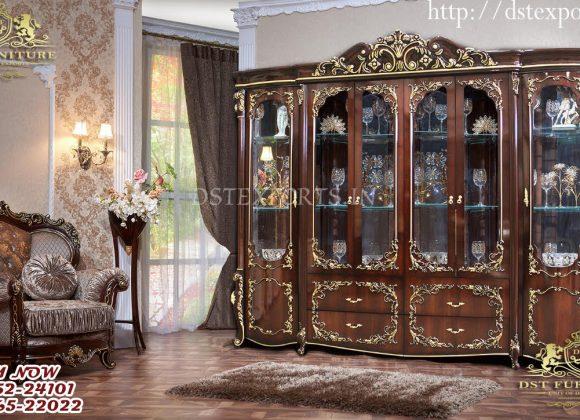 Royal Design Antique Walnut Finish Curio