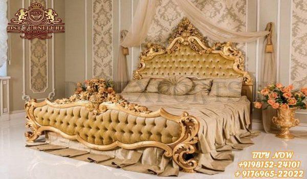 Royal Vintage Style Golden Finish Bed