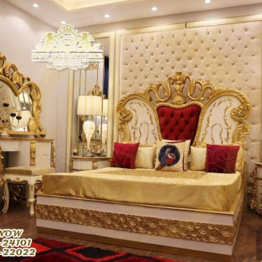 Traditional Gold Finish King Size Bed With Nightstand