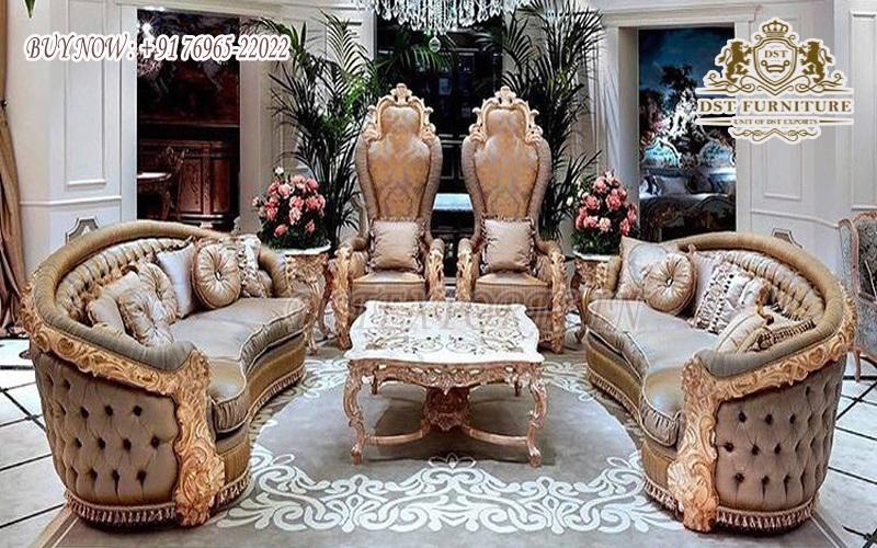 Victorian Vintage Style Tufted Living Room Sofa Set